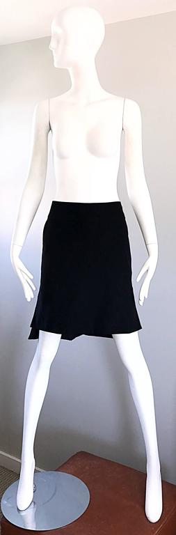 Vintage Yves Saint Laurent Rive Gauche YSL Black Hi - Lo Asymmetrical 90s Skirt For Sale 5