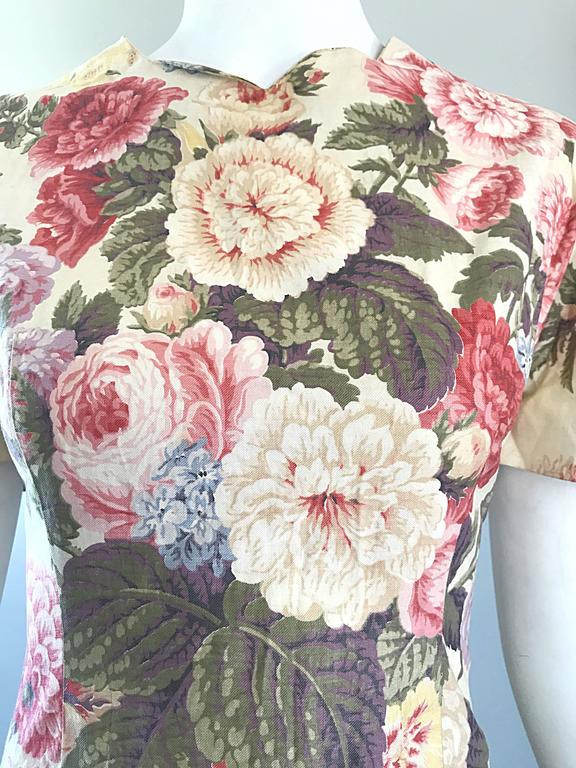Beige Beautiful 1980s does 1950s Hand Painted Floral Puff Sleeve Vintage 80s Dress For Sale