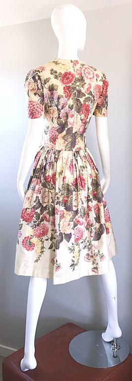 Beautiful 1980s does 1950s Hand Painted Floral Puff Sleeve Vintage 80s Dress For Sale 1