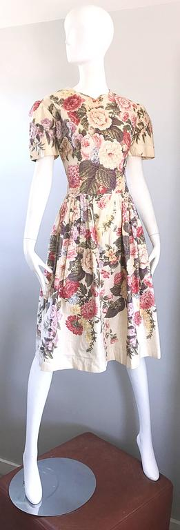 Beautiful 1980s does 1950s Hand Painted Floral Puff Sleeve Vintage 80s Dress For Sale 3
