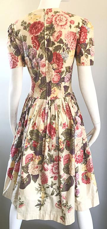 Beautiful 1980s does 1950s Hand Painted Floral Puff Sleeve Vintage 80s Dress For Sale 4