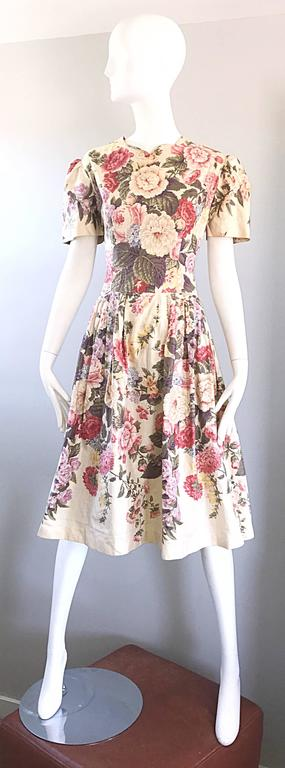 Beautiful 1980s does 1950s Hand Painted Floral Puff Sleeve Vintage 80s Dress For Sale 5