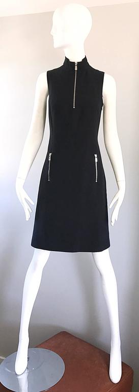 Brand New Michael Kors Collection Black Size 4 ' Zipper ' Sheath Dress NWT In New never worn Condition For Sale In San Francisco, CA