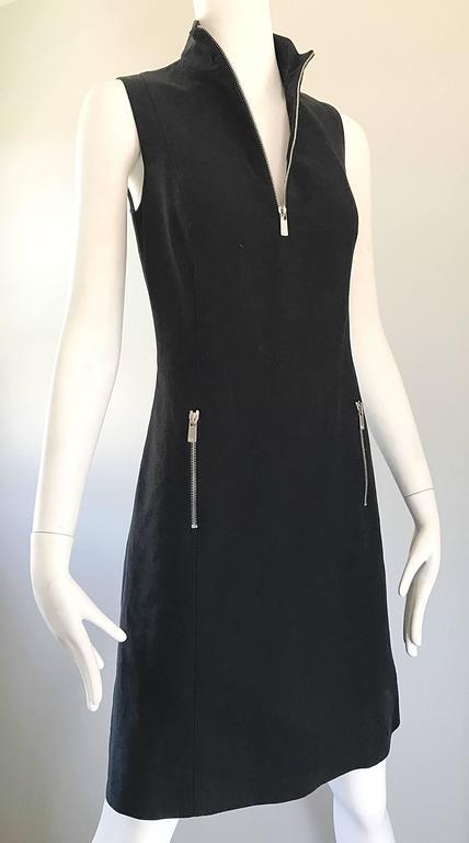 Women's Brand New Michael Kors Collection Black Size 4 ' Zipper ' Sheath Dress NWT For Sale