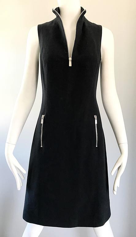 Brand New Michael Kors Collection Black Size 4 ' Zipper ' Sheath Dress NWT For Sale 2