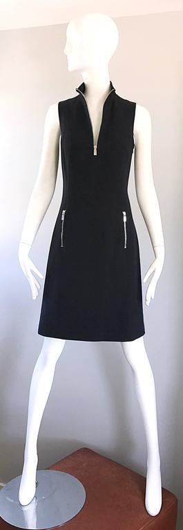 Brand New Michael Kors Collection Black Size 4 ' Zipper ' Sheath Dress NWT For Sale 5