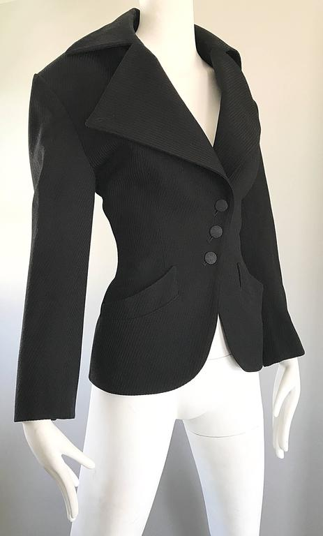 Black Rare Vintage Alaia 1980s Musuem Held Avant Garde Wasp Waist 80s Fitted Jacket For Sale