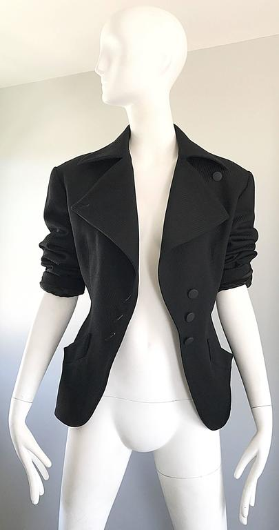 Rare Vintage Alaia 1980s Musuem Held Avant Garde Wasp Waist 80s Fitted Jacket For Sale 2