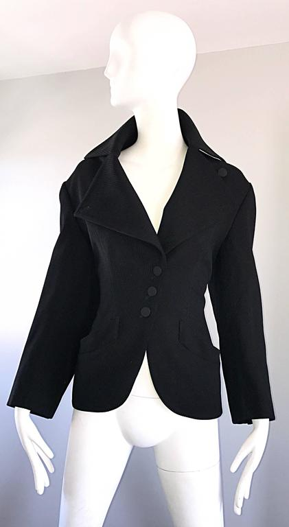 Rare Vintage Alaia 1980s Musuem Held Avant Garde Wasp Waist 80s Fitted Jacket For Sale 4