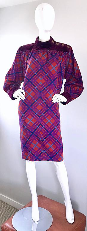 Rare and iconic vintage YVES SAINT LAURENT 'Rive Gauche' Russian Collection dress! The 1976 RUssian Collection is Saint Laurent's most iconic collection of all time, and is referenced often. This beauty features a sot virgin wool body, w/ burgundy