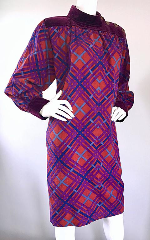 Purple Yves Saint Laurent Vintage Russian Collection 1976 Geometric 70s Dress  For Sale
