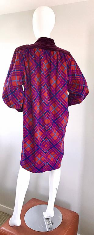 Women's Yves Saint Laurent Vintage Russian Collection 1976 Geometric 70s Dress  For Sale