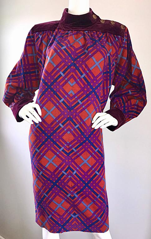 Yves Saint Laurent Vintage Russian Collection 1976 Geometric 70s Dress  For Sale 1