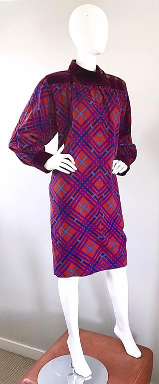Yves Saint Laurent Vintage Russian Collection 1976 Geometric 70s Dress  For Sale 2