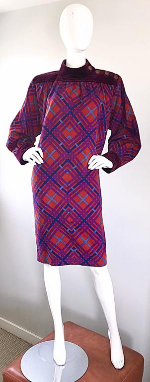 Yves Saint Laurent Vintage Russian Collection 1976 Geometric 70s Dress  For Sale 4