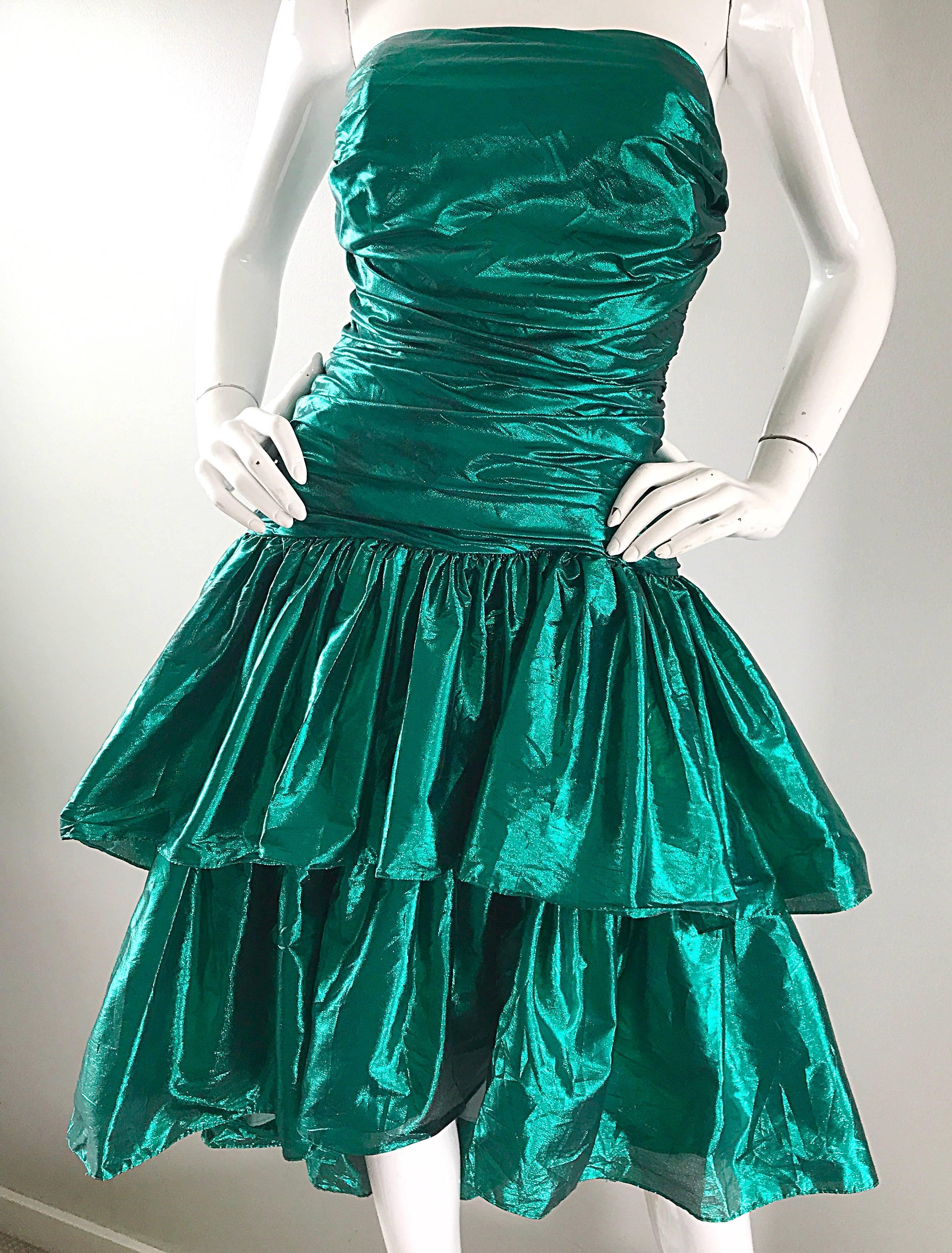 Betsey Johnson 1980s Metallic Green Lame High Low Vintage 80s ...