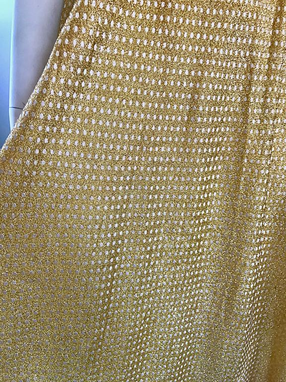Geoffrey Beene 1960s Pearl Encrusted Gold Metallic Rare Vintage 60s Evening Gown In Excellent Condition For Sale In Chicago, IL