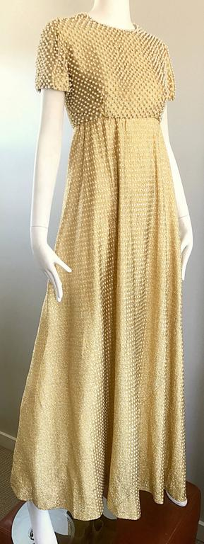 Women's Geoffrey Beene 1960s Pearl Encrusted Gold Metallic Rare Vintage 60s Evening Gown For Sale