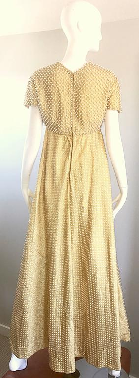 Geoffrey Beene 1960s Pearl Encrusted Gold Metallic Rare Vintage 60s Evening Gown For Sale 1