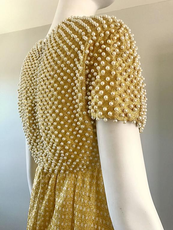 Geoffrey Beene 1960s Pearl Encrusted Gold Metallic Rare Vintage 60s Evening Gown For Sale 2