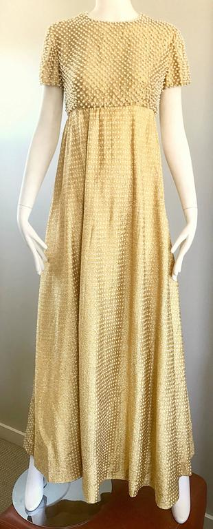 Geoffrey Beene 1960s Pearl Encrusted Gold Metallic Rare Vintage 60s Evening Gown For Sale 3