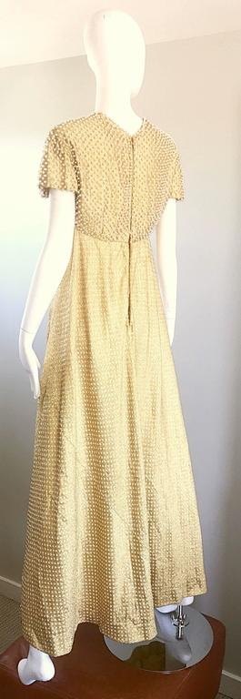 Geoffrey Beene 1960s Pearl Encrusted Gold Metallic Rare Vintage 60s Evening Gown For Sale 4