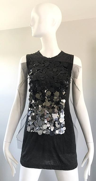 1990s Vera Wang Charcoal Gray Paillettes Tulle Sleeveless Vintage Blouse Top 2