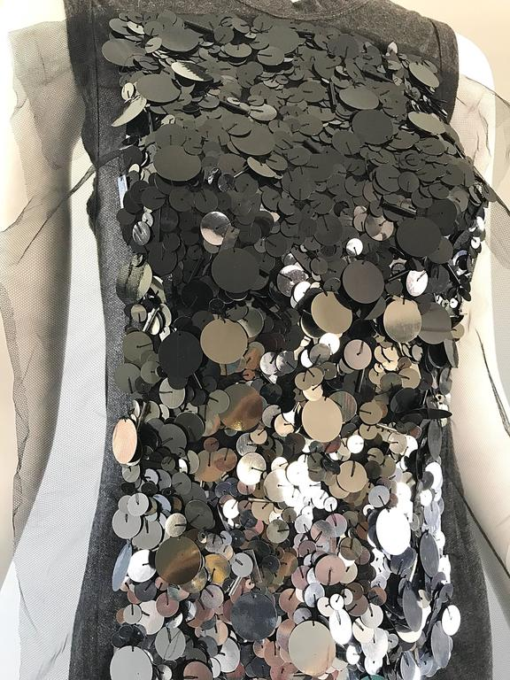1990s Vera Wang Charcoal Gray Paillettes Tulle Sleeveless Vintage Blouse Top 3