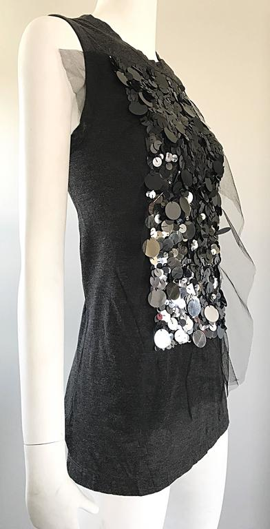 1990s Vera Wang Charcoal Gray Paillettes Tulle Sleeveless Vintage Blouse Top 4