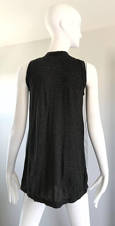 1990s Vera Wang Charcoal Gray Paillettes Tulle Sleeveless Vintage Blouse Top 5