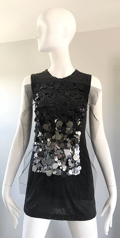 1990s Vera Wang Charcoal Gray Paillettes Tulle Sleeveless Vintage Blouse Top 9