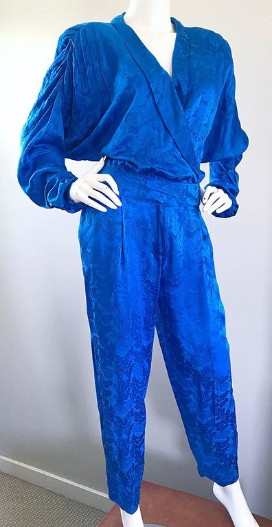 Women's Vintage Flora Kung Royal Blue Size 10 Silk Long Dolman Sleeve Jumpsuit  For Sale