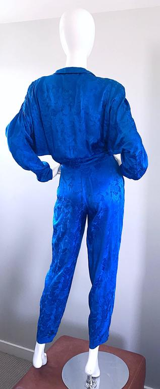 Vintage Flora Kung Royal Blue Size 10 Silk Long Dolman Sleeve Jumpsuit  For Sale 1