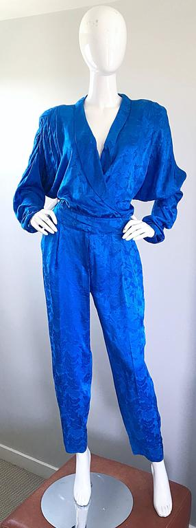 Vintage Flora Kung Royal Blue Size 10 Silk Long Dolman Sleeve Jumpsuit  For Sale 2