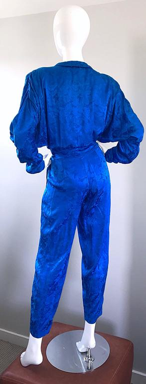 Vintage Flora Kung Royal Blue Size 10 Silk Long Dolman Sleeve Jumpsuit  For Sale 4