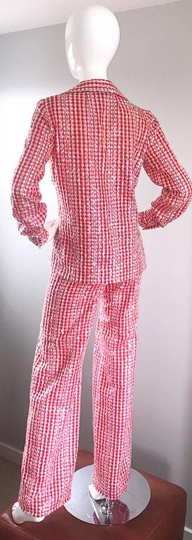 Pink 1970s Anthony Muto Red White Gingham Sequined Vintage 70s Three  Piece Ensemble  For Sale