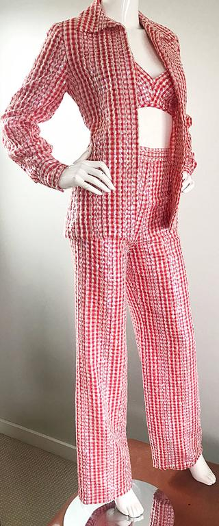 Women's 1970s Anthony Muto Red White Gingham Sequined Vintage 70s Three  Piece Ensemble  For Sale