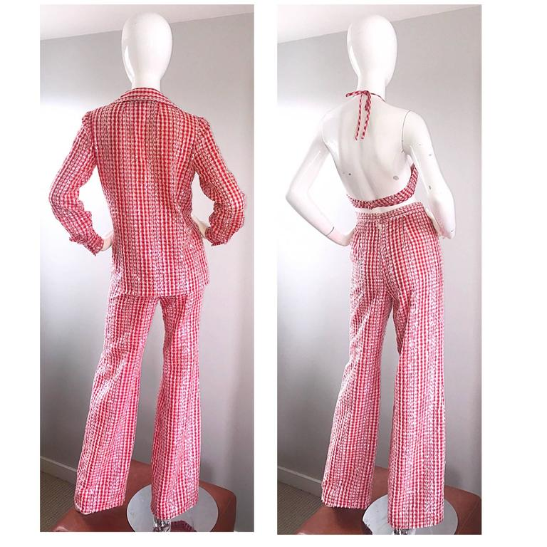 1970s Anthony Muto Red White Gingham Sequined Vintage 70s Three  Piece Ensemble  For Sale 2