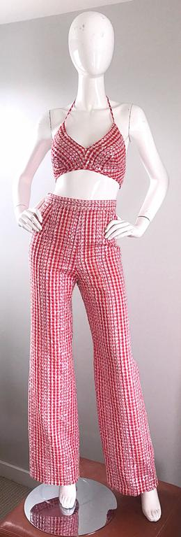 1970s Anthony Muto Red White Gingham Sequined Vintage 70s Three  Piece Ensemble  For Sale 1
