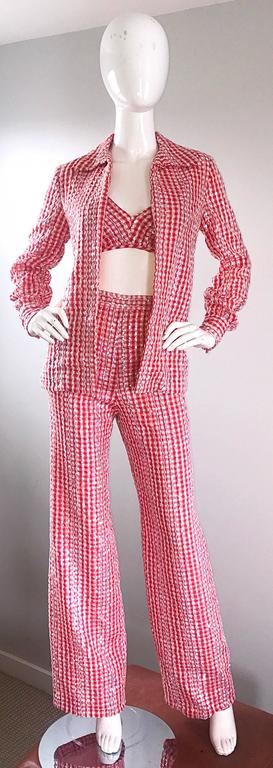 1970s Anthony Muto Red White Gingham Sequined Vintage 70s Three  Piece Ensemble  For Sale 4