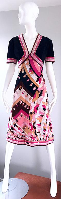 Amazing and rare 1960s EMILIO PUCCI short sleeve velvet A-Line dress! Features the signature kaleidoscope print, with the Pucci signature sporadically throughout. Pucci velvet pieces are extremely rare to come by, and are considered highly