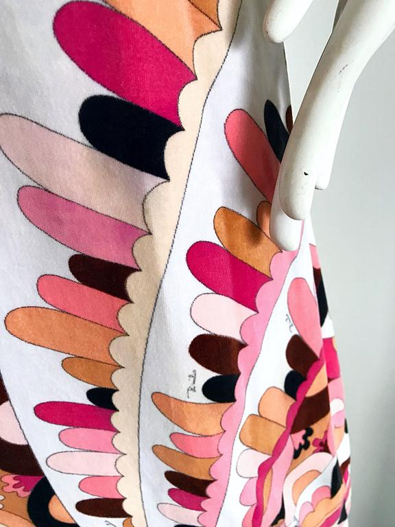 Pink Vintage Emilio Pucci 1960s Signature Kaleidoscope Print 60s Velvet A Line Dress For Sale
