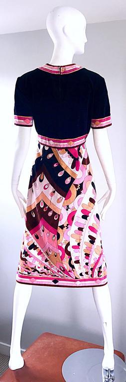 Vintage Emilio Pucci 1960s Signature Kaleidoscope Print 60s Velvet A Line Dress In Excellent Condition For Sale In San Francisco, CA