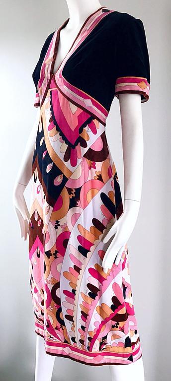Women's Vintage Emilio Pucci 1960s Signature Kaleidoscope Print 60s Velvet A Line Dress For Sale