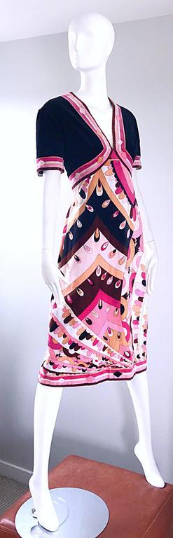 Vintage Emilio Pucci 1960s Signature Kaleidoscope Print 60s Velvet A Line Dress For Sale 1