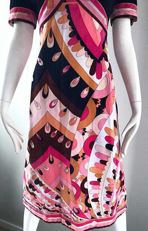 Vintage Emilio Pucci 1960s Signature Kaleidoscope Print 60s Velvet A Line Dress For Sale 2