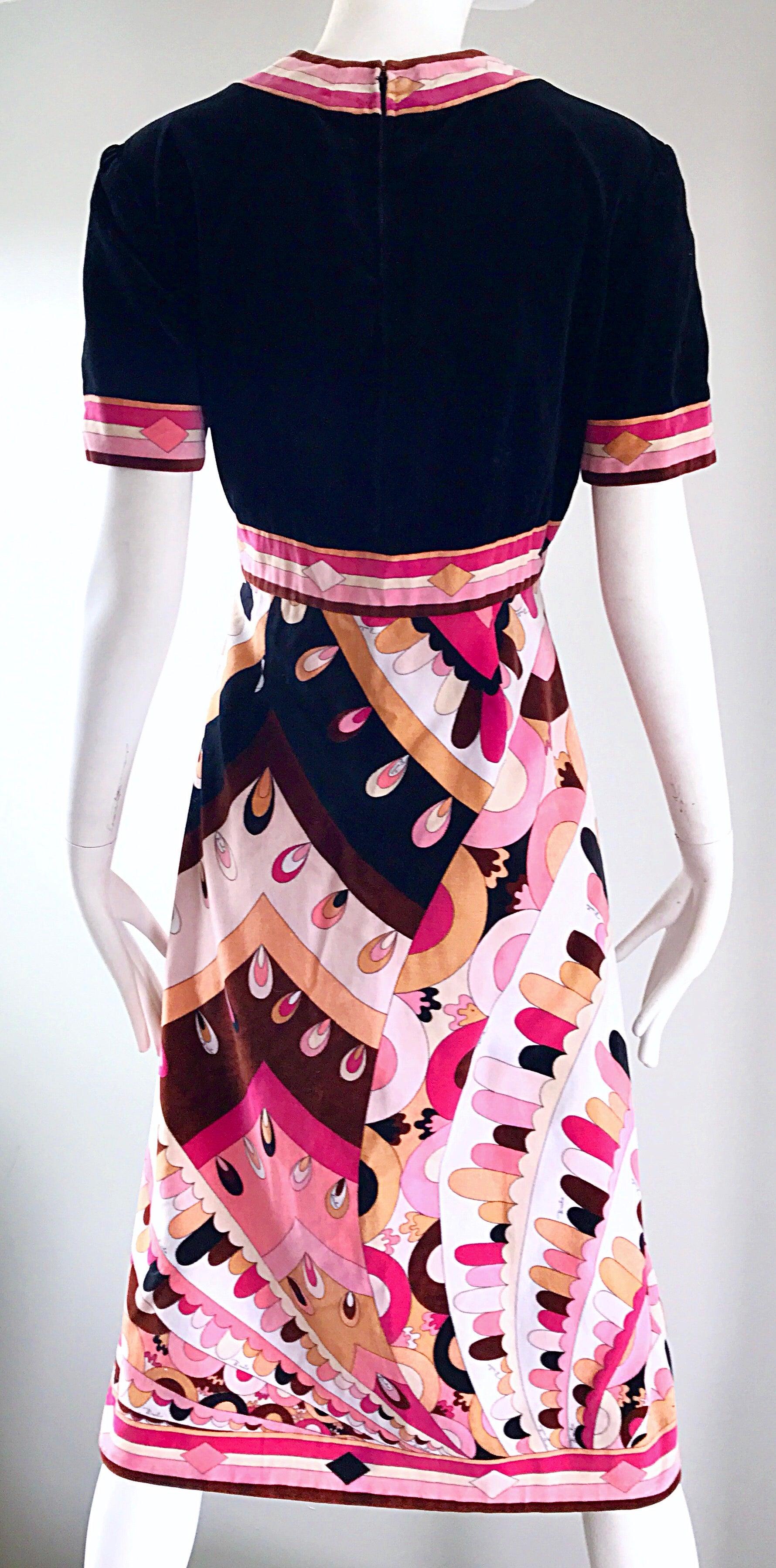 39cd8e529151 Vintage Emilio Pucci 1960s Signature Kaleidoscope Print 60s Velvet A Line  Dress For Sale at 1stdibs