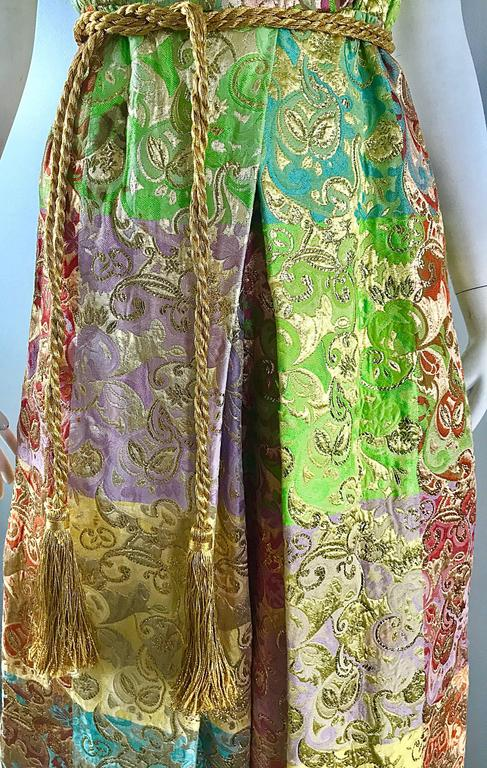 Joseph Magnin 1970s Colorful Silk Brocade Palazzo Leg Vintage Cropped Jumpsuit 2