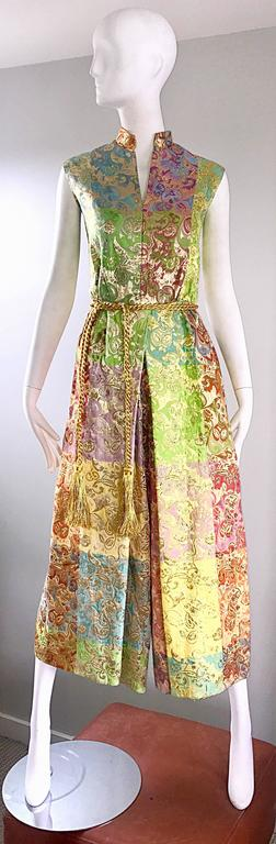 Joseph Magnin 1970s Colorful Silk Brocade Palazzo Leg Vintage Cropped Jumpsuit 3