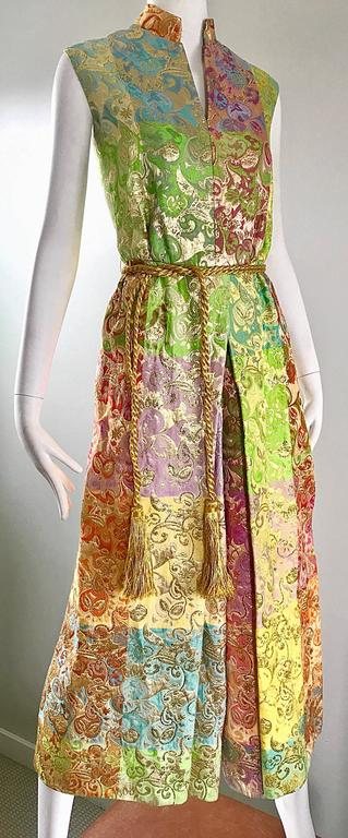 Joseph Magnin 1970s Colorful Silk Brocade Palazzo Leg Vintage Cropped Jumpsuit In Excellent Condition For Sale In Chicago, IL